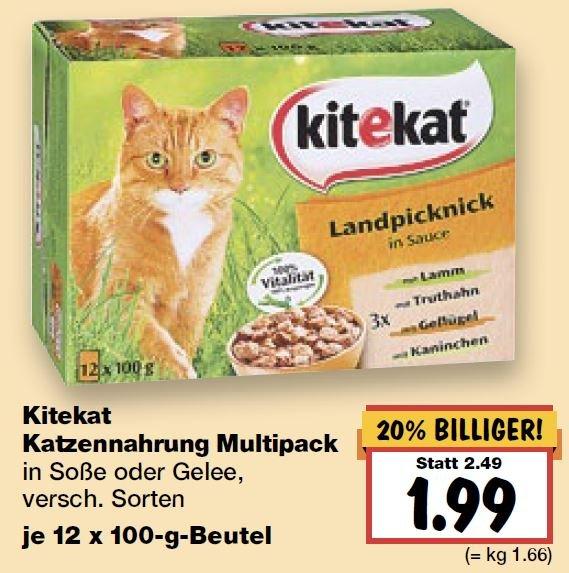 [kaufland] Kitekat Katzennahrung Multipack in Soße oder Gelee 0,99€ (-60%)