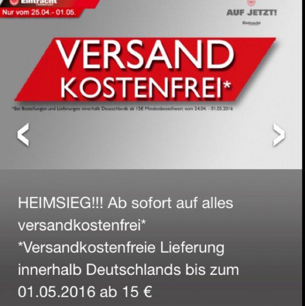 Eintracht Frankfurt: Versandkostenfreie Lieferung ab 15€ MBW im Onlineshop (Rückrunden Sale)