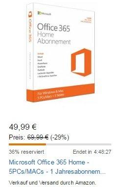 Office 365 Home für 5 PCs/Macs und 4 Familienmitglieder 49,99 € @ Amazon
