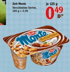 [GLOBUS HOMBURG] 3x Zott Monte Zwei-Kammer Joghurts für 0,47€ (Angebot+Scondoo)