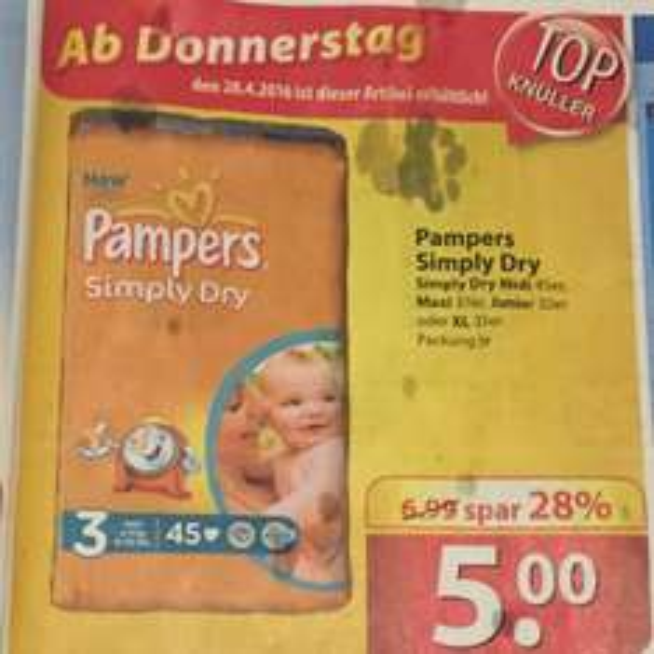 Pampers Simply Dry zum Aldi Preisniveau für 0,11-0,16 Euro/Windel