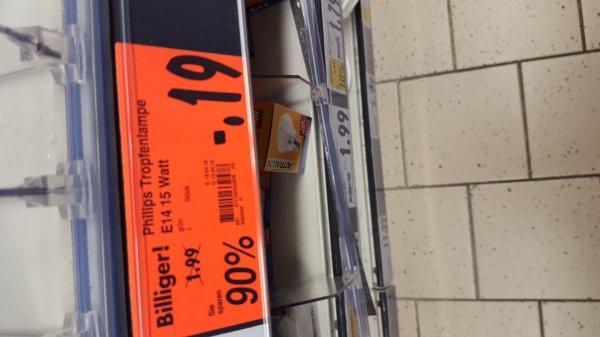 Lokal [Kaufland] in hanau - philips tropfenlampe e14 15 Watt 90% Reduziert kostet somit Statt 1.99 nur noch 19 cent