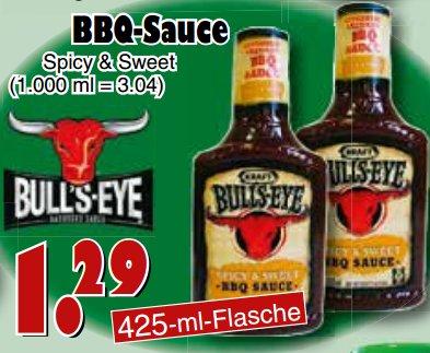 [JAWOLL] 2x Bull's Eye BBQ Sauce Spicy & Sweet 425ml für nur 0,79€/Flasche (Angebot+Scondoo)
