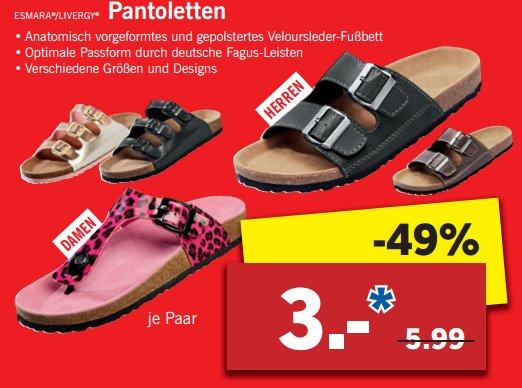 [LIDL NEUMÜNSTER] Herrn-/Damen-Pantoletten versch. Größen für nur 3,00€ (28.-30.04.)