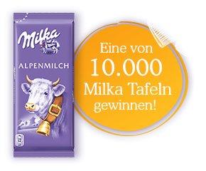 10 000 gratis Tafeln Milka Alpenmilch Schokolade 40g.