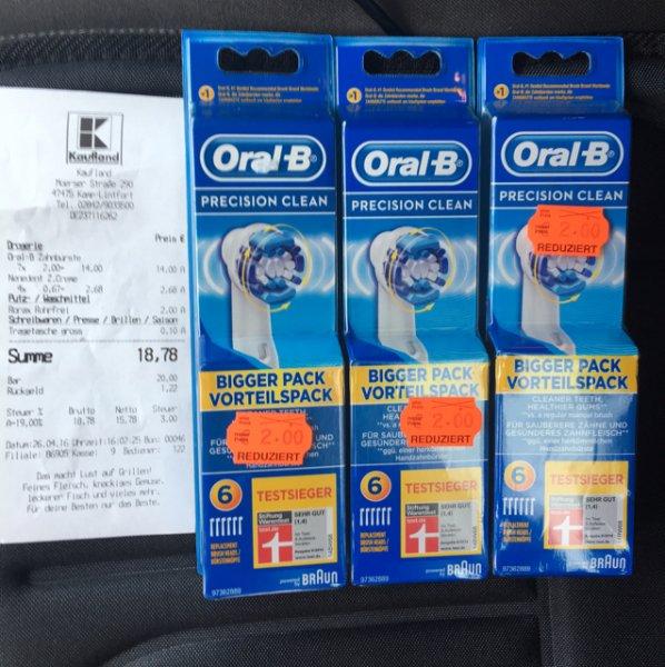 Braun Oral B Precision Clean Aufsteckbürsten 6er Pack für 2€ (Kaufland Kamp-Lintfort) Lokal?
