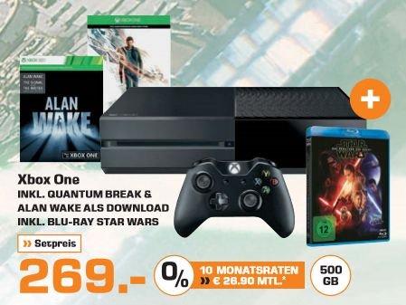 [Saturn] Xbox One 500 GB+ Quantum Break + Alan Wake + Star Wars - Das Erwachen der Macht (Blu-Ray) für 269,- Euro**Aktion Online und Versandkostenfrei