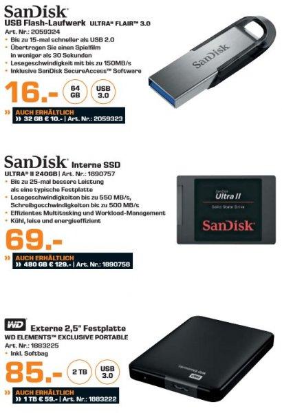 [Saturn] Neue Speicherangebote des neuen Prospektes...zb....Sandisk Ultra Flair 64GB ab 16,-€ oder Sandisk Ultra 2 SSD, 240 GB ab 64,-€