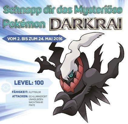 [Nintendo 3DS] Pokémon Darkrai wird vom 02. bis 24. Mai bei GameStop kostenlos verteilt