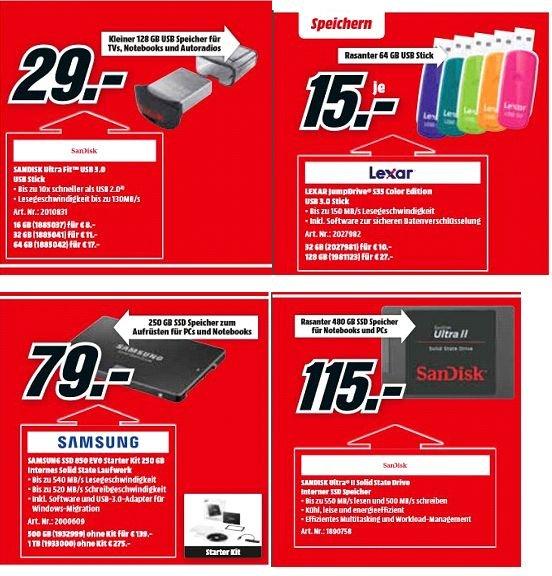 [Mediamarkt) Speicherangebote....zb. Sandisk Ultra Fit 128GB für 29,-€ (andere Größen auch) oder Samsung EVO 850 mit 250GB und Starter Kit für 79,-€ Sandisk UltraII 480GB SSD für 115,-€ und andere.Jetzt Versandkostenfrei.