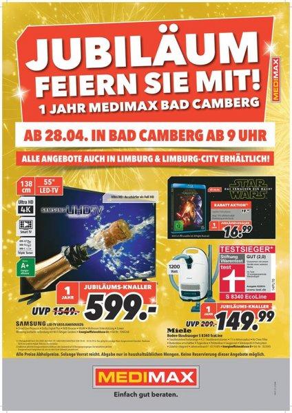 [Medimax Bad Camberg & Limburg] 1 Jahr Medimax, viele Angebote wie z.B. der Samsung UE55ju6050 für 599 €, 20% auf Elektro Großartikel, 15% auf CD's, Blurays und Games