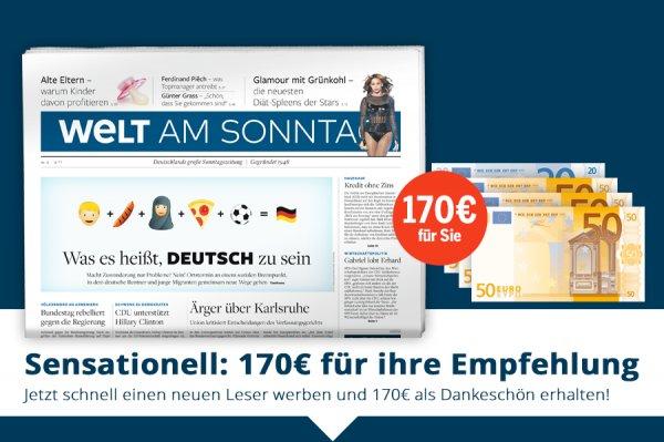 Welt am Sonntag - 1 Jahr lang für nur 32,80€ lesen durch 170,00€ Bargeldprämie (Verrechnungsscheck)