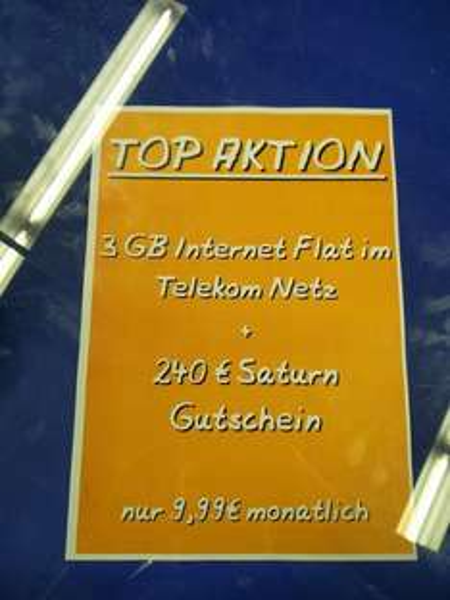 [Saturn Reutlingen] : mobilcom-debitel Internet-Flat 3GB D1 LTE für 9,99mtl mit 240€ Gutschein