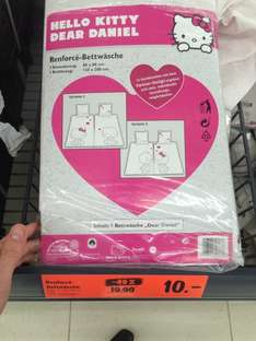 [Lidl] -49% Hello Kitty Bettwäsche Weiß/Rosa 2tlg 80x80 + 135x200 10€ Renforce Dear Daniel