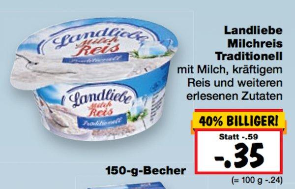 (kaufland regionsabhängig) KW 18: 6x Landliebe Milchreis Traditionell 150 gr für 0,18 €/Becher (-63%)