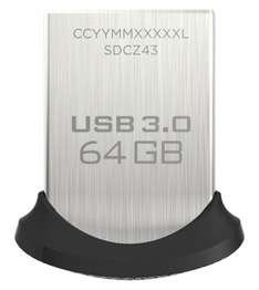 SanDisk Ultra Fit USB-Flash-Laufwerk 64GB USB 3.0 bis zu 130 MB/Sek für 14,19 € @ Amazon Marketplace (Savetec Swiss)