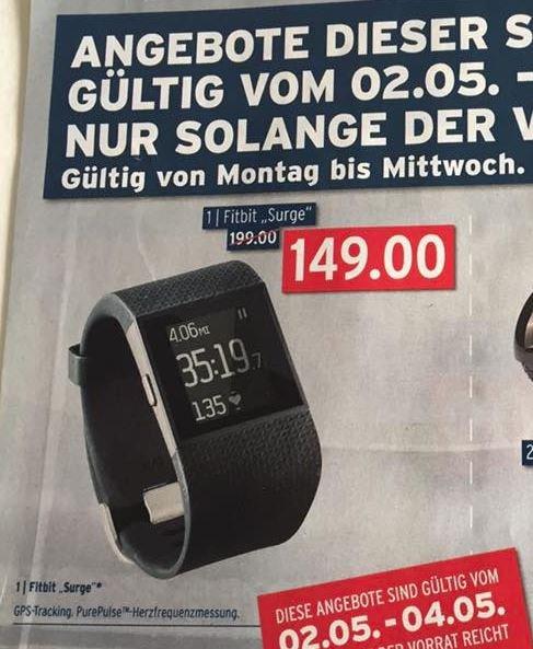 [Karstadt] Fitbit Surge Größe S und L - Schwarz 149 € ab 02.05-04.05.16