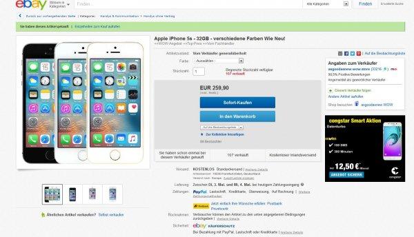 """Ebay WoW Angebot Apple Iphone 5s 32GB """"wie neu"""" versch. Farben für 233,91€ (asgoogasnew)"""
