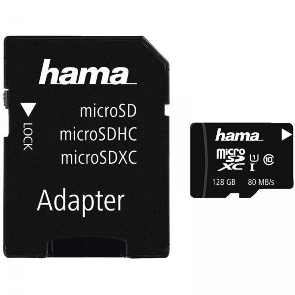 [Mediamarkt+ Ebay] Hama microSDXC-Karte Class 10 UHS-I 80MB/s+Adapter/Foto 128 GB für 33,-€ bei Filiallieferung
