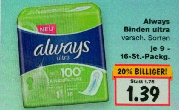 [Kaufland BY] KW18 always Binden ultra [Sonderangebot + Coupon] für 0,39 € ggf. nur regional