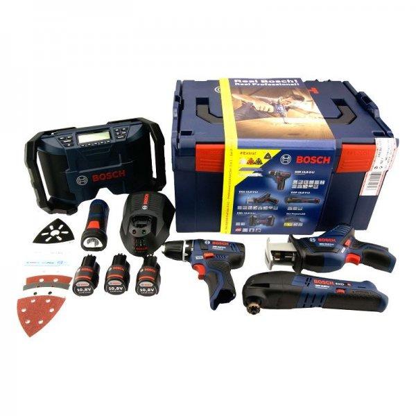 BOSCH Professional Akku-Werkzeug-SET 5 Geräte, 3x Akku 10,8V 2,0Ah!!