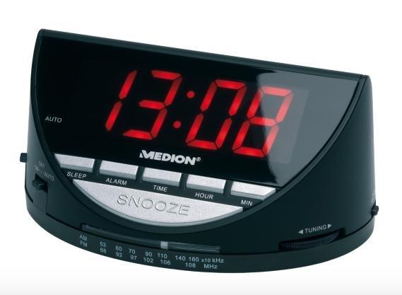 Medion E66040 Uhrenradio mit Alarm-/Sleep-/Snooze-Funktion für 7,95€