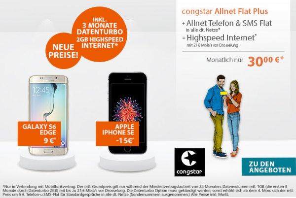 Preisboerse24 - congstar Allnet Flat Plus (Allnet & SMS & 1 GB Internet) + iPhone SE 16 GB mit 15 Euro Auszahlung