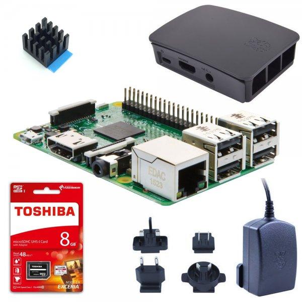 Raspberry Pi 3 Starterkit (Pi 3 + orig. Gehäuse + orig. Netzteil + 8GB + Kühlkörper) 62,90€