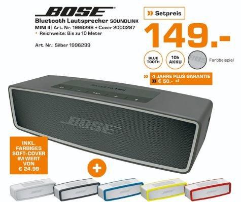 [Lokal Saturn Märkte Rheinland Pfalz ab Montag] Bose SoundLink Mini II Bluetooth Lautsprecher in 2 Farben + Bose SoundLink Mini Softcover für 149,-€