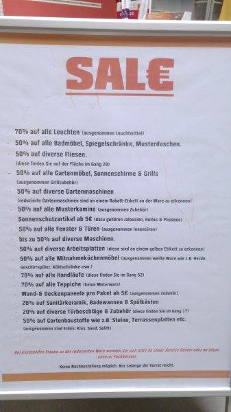 [OBI Berlin Mahlsdorf] SAL€ - bis zu 70% auf das gesamte Sortiment wegen Schließung