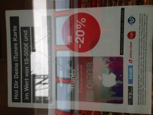 20% auf iTunes Karten ab 15€ bei verschiedenen Bahnhofskiosken