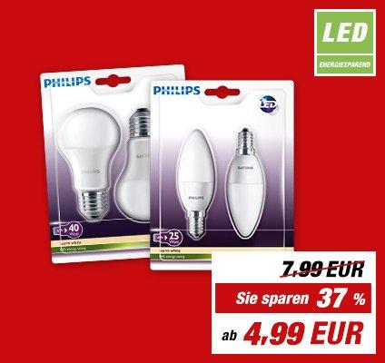 toom: Philips- LED -Lampen im Doppelpack für 4,99 und 5,99 Euro