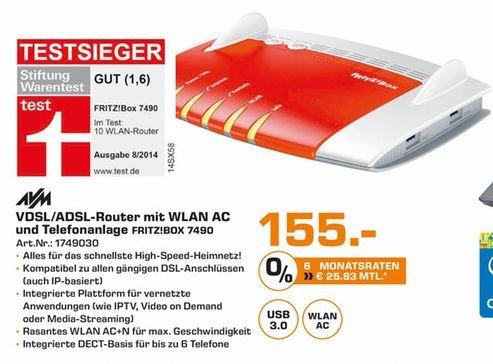 [Lokal Saturn Karlsruhe] AVM FRITZBox 7490 Wireless Lan AC + N Router (VDSL/?ADSL, 1.300 Mbit/s (5 GHz), 450 Mbit für 155,-€