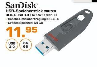 [Lokal Saturn Karlsruhe] SanDisk Ultra 64GB USB-Flash-Laufwerk USB 3.0 bis zu 100MB/Sek für 11,95€