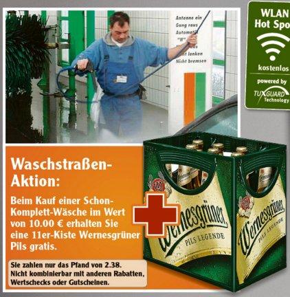 [ERFURT] Globus: Schon-Autowäsche + 1 Kiste Wernesgrüner (11x0,5l) für 10,00€