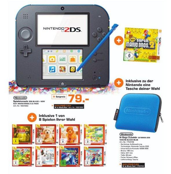 [Lokal Saturn Euskirchen] Nintendo Konsole 2DS schwarz/?blau oder weiß/rot inkl. New Super Mario Bros. 2 - Special Edition + Nintendo Tasche + 1 von 8 Spielen(zb. Zelda) für 79,-€