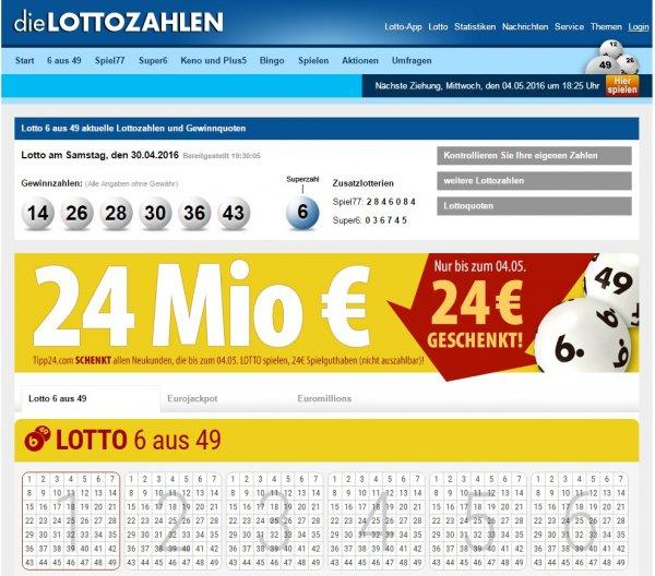 Tipp24.com 24 € geschenkt für 1x Lotto spielen (aber für Neukunden)