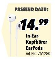 In-Ear-Kopfhörer EarPods (Apple) bei Medimax Berlin Charlottenburg für 14,99€