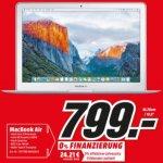 Apple MacBook Air 33.8 cm (13.3 Zoll) (MJVE2D/A) Intel Core i5 4 GB Intel HD Graphics 6000 128GB Flash Speicher [LOKAL] Media Markt Gütersloh