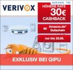 30 € Cashback + 5 € Amazon Gutschein bei Strom und Gasvertragswechsel bei Verivox über Qipu