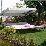 [GartenXXL] LECO Garten-Doppelliege 200 x 200 cm in Grau, Grün oder Taupe für nur 98,96€ statt 150€ inkl. Versand #Update
