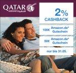 Qatar Airways -Qipu- 2% Cashback und 50€ Amazon Gutschein bzw 100€ Amazon Gutschein