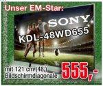 Sony KDL-48WD655 Fernseher 121 cm (48 Zoll) LED-TV, Full HD, 200 Hz, Triple Tuner, Smart TV, WLAN, USB-Recording [LOKAL, 33415 Verl]