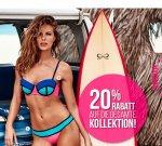 Das ganze Wochenende lang 20% Rabatt auf die gesamte Kollektion + 5€ Rabatt ab 25€ bei [Hunkemöller] z.B. Bikini für 26,98€ statt 39,98€
