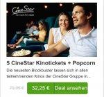 UPDATE: (GROUPON) 5x CineStar Kinogutscheine für 2D-Filme + 5xTüte Popcorn Neukunde nur 22,95€ bzw Bestandskunde 26,40€ +13%qipu