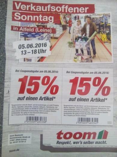 (15%) Verkaufsoffener Sonntag bei Toom in Alfeld (Leine)