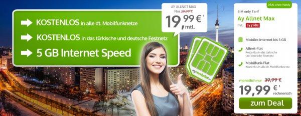 Handy vertrag  allnet flat 5GB 19,99€ im Monat mit Türkei Flat