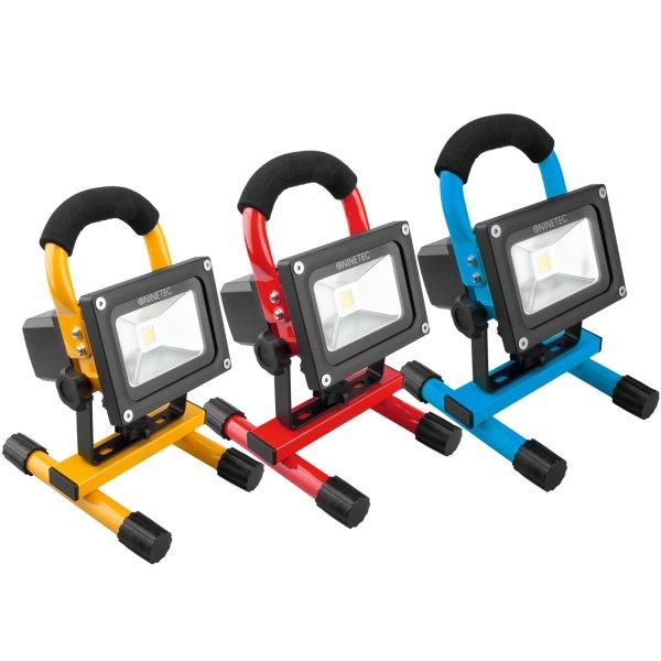 [eBay WOW] Wieder da: NINETEC 10W LED Akku Flutlicht Bau Strahler, mehrere Farben