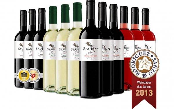 Sauron spanisches Wein-Probierpaket - 4 x je 3 Flaschen - Rotwein (2 verschiedene), Rose, Weißwein für 4,17 € pro Flasche @ plus.de