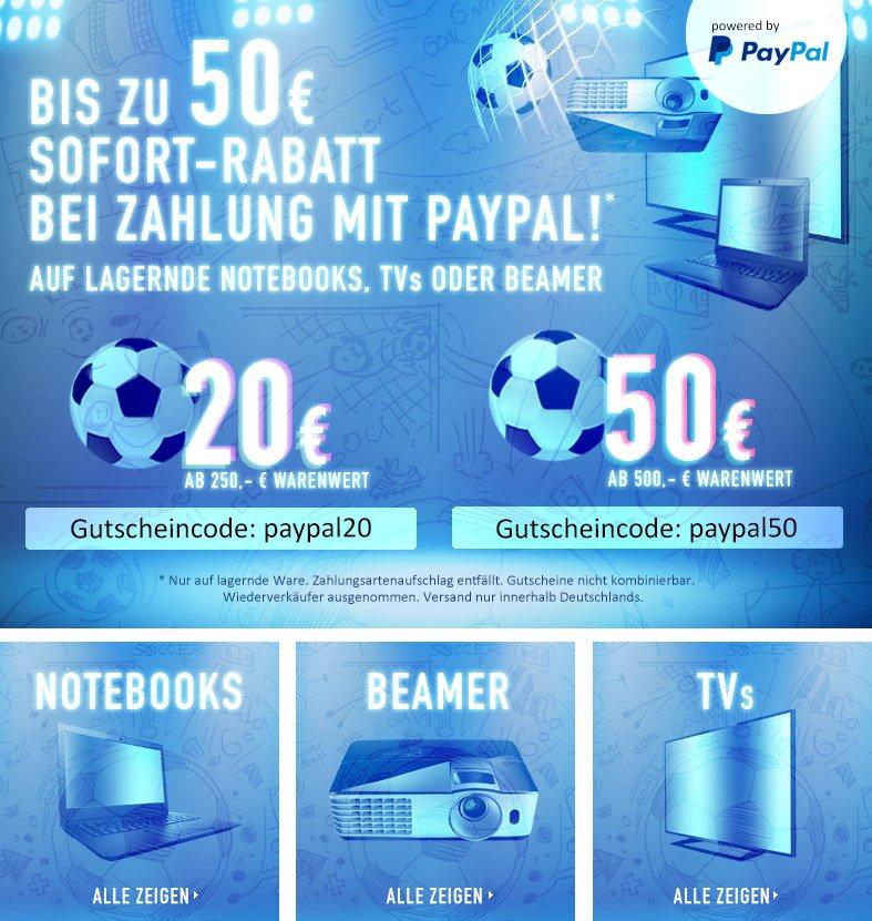 Bis zu 50€ Rabatt auf alles durch Zahlung via Paypal bei Computeruniverse *UPDATE*